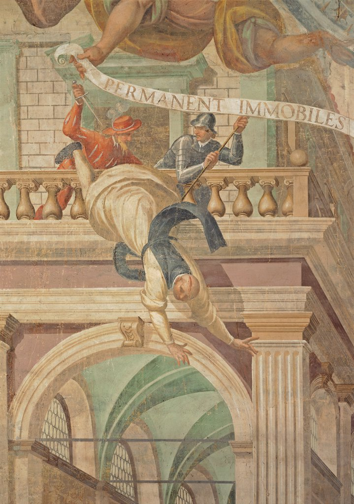 Martyrdom of Saint Casimir and of Oliva Monks in Poland, by Della Rovere Giovanni Mauro known as Fiammenghino, Della Rovere Giovan Battista known as Fiammenghino, 17th Century, fresco. Italy, Lombardy, Milan, Chiaravalle Abbey. Detail. Monk thrown down from a balcony Martyrdom of Saint Casimir and of Monks of Oliva Monastery in Poland arch channeled antas balustrade cartouche: scroll inscription soldiers murderers: executioners cuirass: armor h. : Stock Photo