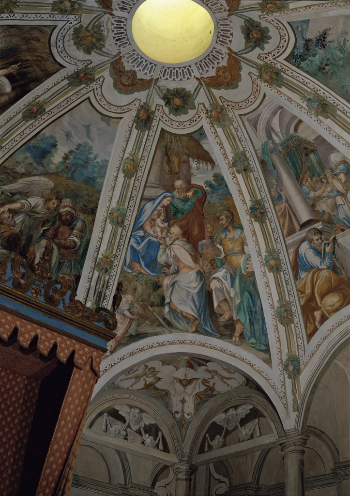 Stock Photo: 1899-33579 Adoration of the Magi, by Della Rovere Giovanni Mauro known as Fiammenghino, Della Rovere Giovan Battista known as Fiammenghino, 17th Century, fresco. Italy, Piemonte, Varallo Sesia, Vercelli, Sacro Monte Church. Whole artwork. Adoration of the Magi Madonna Child St Joseph Magi Kings hut bystanders: onlookers.
