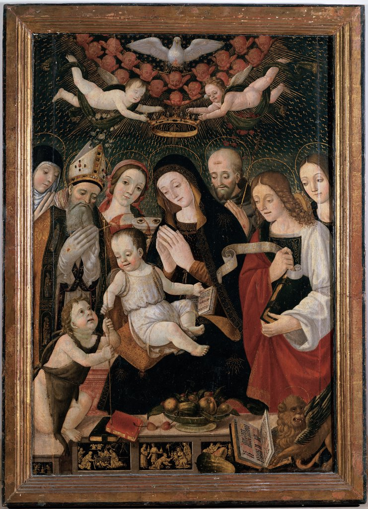 Stock Photo: 1899-33609 Madonna and Child with Saints, by Francesco da Montereale, 16th Century, canvas. Italy, Abruzzo, L'Aquila, San Bernardino Church. Whole artwork. Madonna and child with Saints cherubim angels dove Holy Spirit: Holy Ghost Infant St John St Lucy St Mark the Evangelist winged lion holy book Gospel books fruits episodes predella crown Saint Bishop miter: mitre j.