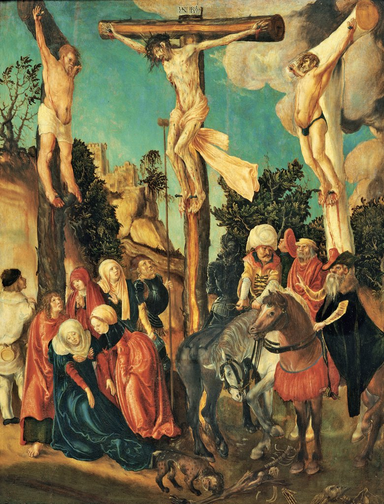Crucifixion, by Cranach Lucas Cranach the Elder, 1500 - 1501, 16th Century, panel. Austria, Wien, Kunsthistorisches Museum. Whole artwork. Crucifixion Jesus Christ cross robbers fainting Mary pious women horses guards. : Stock Photo