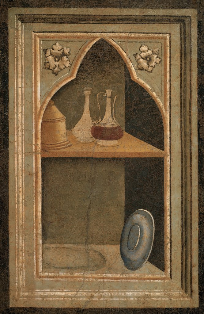 Stock Photo: 1899-33649 Niche with Paten, Pyx and Ampullae, by Gaddi Taddeo, 1327 - 1338, 14th Century, fresco. Italy, Tuscany, Florence, Santa Croce Church, Baroncelli Chapel. Whole artwork. Dish bottles small bottles still life.