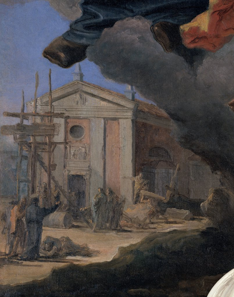 The Apotheosis of St Gaetano Thiene, by Tiepolo Giambattista, 18th Century, oil on canvas. Italy, Veneto, Rampazzo, Vicenza, Santa Maria Maddalena Parish Church. Detail. Church on the background scaffolding small figures. : Stock Photo