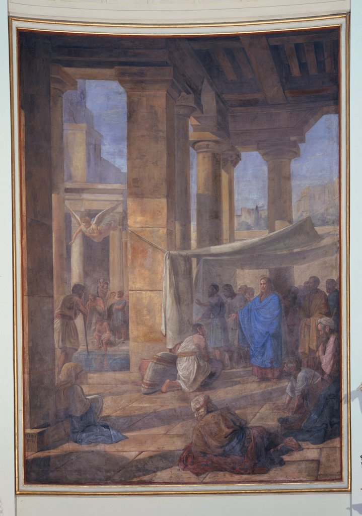 Stock Photo: 1899-33665 Jesus Heal the Sick, by Pupin Velentino, 19th Century, canvas. Italy, Veneto, Arzignano, Vicenza, Cathedral. Whole artwork. Jesus healing the sick porch: portico columns curtain light shadow Christ draperies.