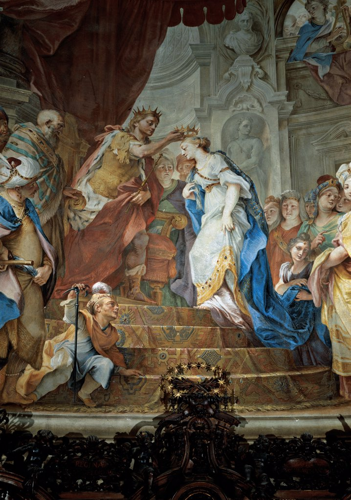 Stock Photo: 1899-33676 Stories of Esther of Coronation of Esther, by probably Legnani Stefano Maria know as Legnanino, 1698 - 1700, 17th Century, fresco. Italy, Lombardy, Lodi, Incoronata Sanctuary. Whole artwork. Stories of Esther of Coronation of Esther crown steps dwarf drapery. draping.
