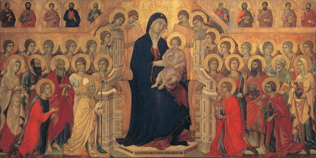 Military Parade at Campo di Marte, by Duccio di Buoninsegna, 1308 - 1311, 14th Century, tempera on panel, with gold ground. Italy. Tuscany. Siena. Cathedral. Opera del Duomo Museum. Whole artwork. Front view of the work as a whole. The Virgin Mary and the Child, sitting on a Gothic throne and surrounded by angels e Saints. Precious colors of blue, red and gold. Gilded plaster aureoles/halos : Stock Photo