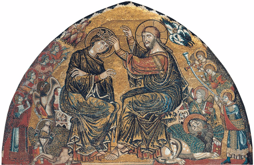 The Coronation of Mary, by Gaddi Gaddo, 1310, 14th Century, mosaic. Italy: Tuscany: Florence: Santa Maria del Fiore Cathedral. Whole artwork. Lunette Virgin Mary Madonna coronation crown angels symbols Evangelists oxen lion eagle saint Cherubs Seraphs background gold : Stock Photo