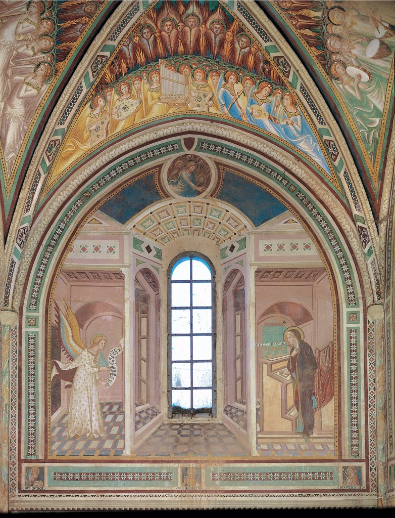 The Annunciation, by Vanni Lippo, 1360 - 1370, 14th Century, fresco. Italy: Tuscany: Siena: Pian del Lago: San Leonardo al Lago Parish Church. Whole artwork. River Landscape angel scroll the Virgin Mary book room window vault arch ogive/pointed arch : Stock Photo