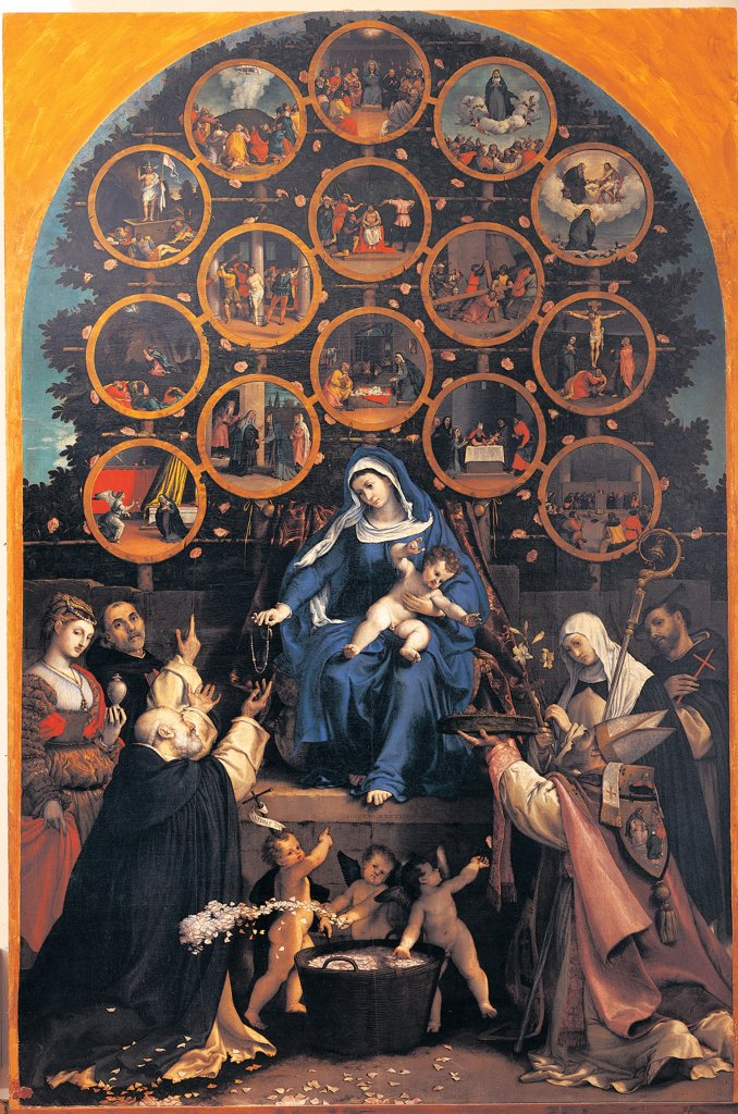 Madonna of the Rosary (Cingoli Altarpiece), by Lotto Lorenzo, 1539, 16th Century, canvas. Italy: Marche: Macerata: Cingoli: San Nicolo church. Whole artwork. The Virgin offers the Rosary to St Dominic between Mary Magdalene, St Catherine, St Francis and St Nicolas. In the bottom, three putti throw handfuls of rose petals. In the top, fifteen tondos with the Mysteries of the Blue Rosary : Stock Photo