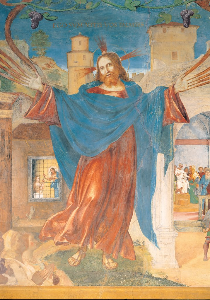 Christ and the Church, by Lotto Lorenzo, 1524, 16th Century, fresco. Italy: Lombardy: Bergamo: Trescore: Suardi Oratory. Detail. Figure of Christ mantle/cloak blue red building castle tower arch sky hands branches : Stock Photo