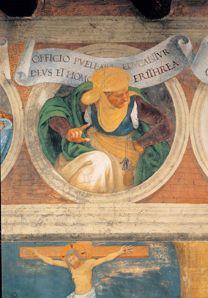 The Erythraean Sibyl, by Lotto Lorenzo, 1524, 16th Century, fresco. Italy: Lombardy: Bergamo: Trescore: Suardi Oratory. Detail. Erythraean Sibyl yellow green cloak/mantle veil headdress/headgear Crucifix red : Stock Photo