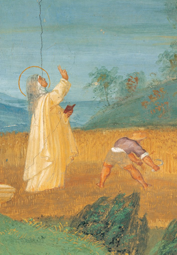 Stories of St Bridget, by Lotto Lorenzo, 1524, 16th Century, fresco. Italy. Lombardy. Bergamo. Trescore. Suardi Oratory. Stories of St Bridget works of charity in the countryside of a hurricane passing yellow field corn halo/aureole farmer trees : Stock Photo