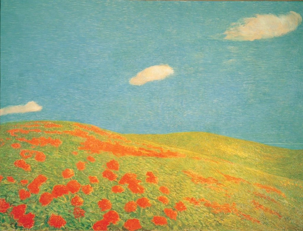 Hills of Liguria, by Previati Gaetano, 1912 - 1913, 20th Century, oil on canvas. Private collection. Whole artwork. Clouds lawn/meadow hills red azure/light blue green grass tulips sky : Stock Photo