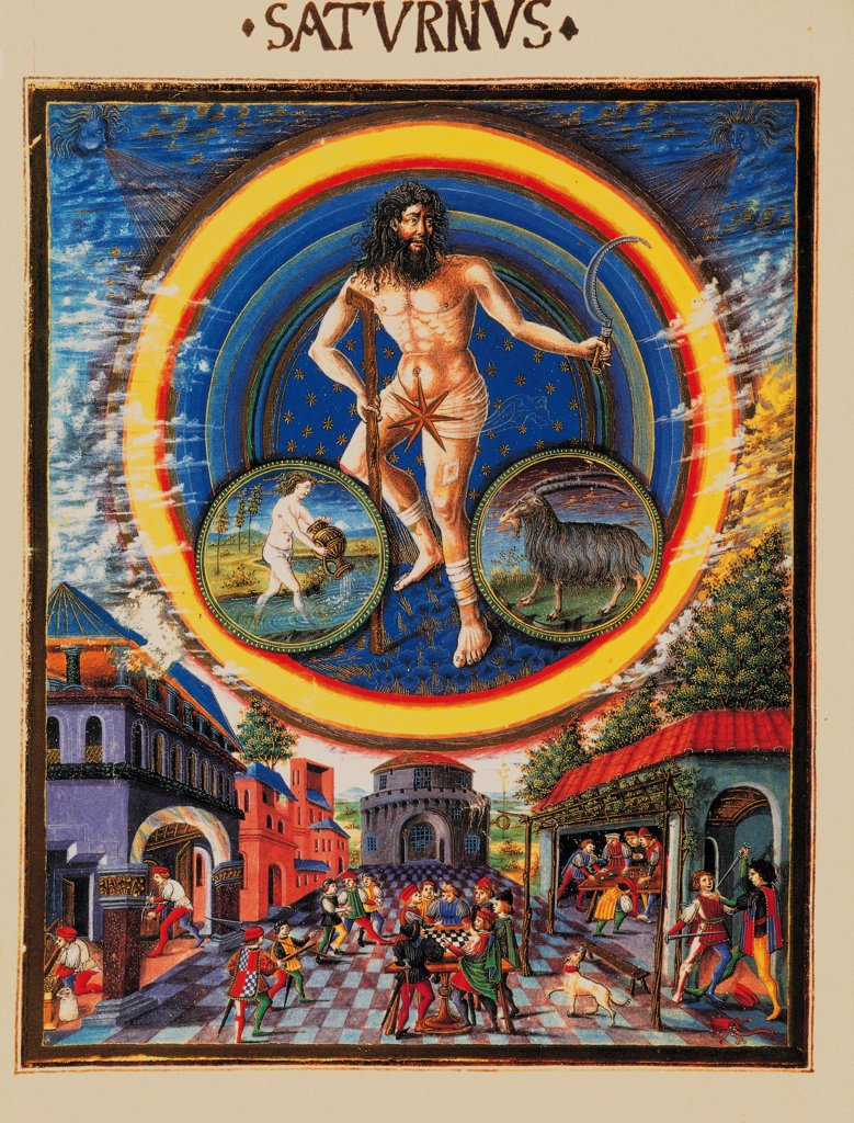 Stock Photo: 1899-33760 De Sphaera Mundi of Saturn, by Unknown artist, 1470 - 1480, 15th Century, parchment manuscript. Italy: Emilia Romagna: Modena: Estense Library. Whole artwork. Personification of the planet Saturn as half-naked bearded man holding stick and sickle. Circles with zodiac signs (Capricorn and Aquarius). At the bottom human figures, square, shops, buildings and the game of checkers