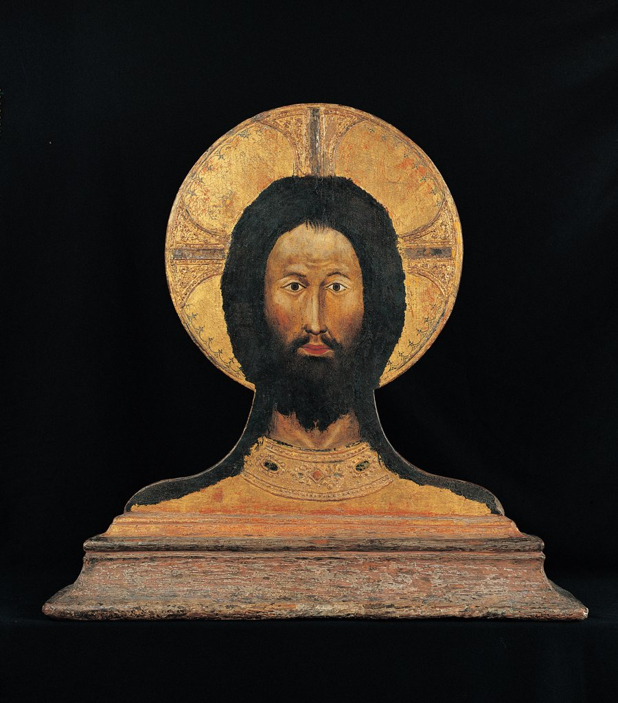 Archeropita Christ, by Unknown artist, 14th Century, tempera on panel with gold ground. Italy: Lazio: Frosinone: Montecassino: Montecassino Abbey: Museo. Whole artwork. Acheropita Christ gold long hair beard mustache front image : Stock Photo