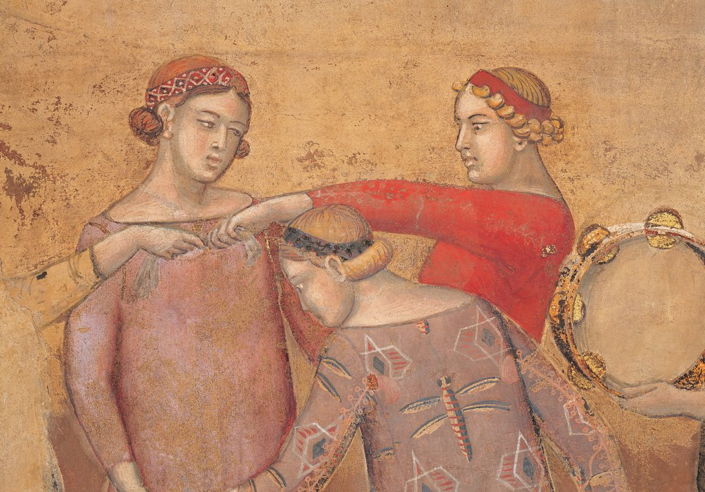 The Effects of Good Government in the City, by Lorenzetti Ambrogio, 1338 - 1339, 14th Century, fresco. Italy: Tuscany: Siena: Palazzo Pubblico. Detail. Group dancing tambourine braid red yellow : Stock Photo