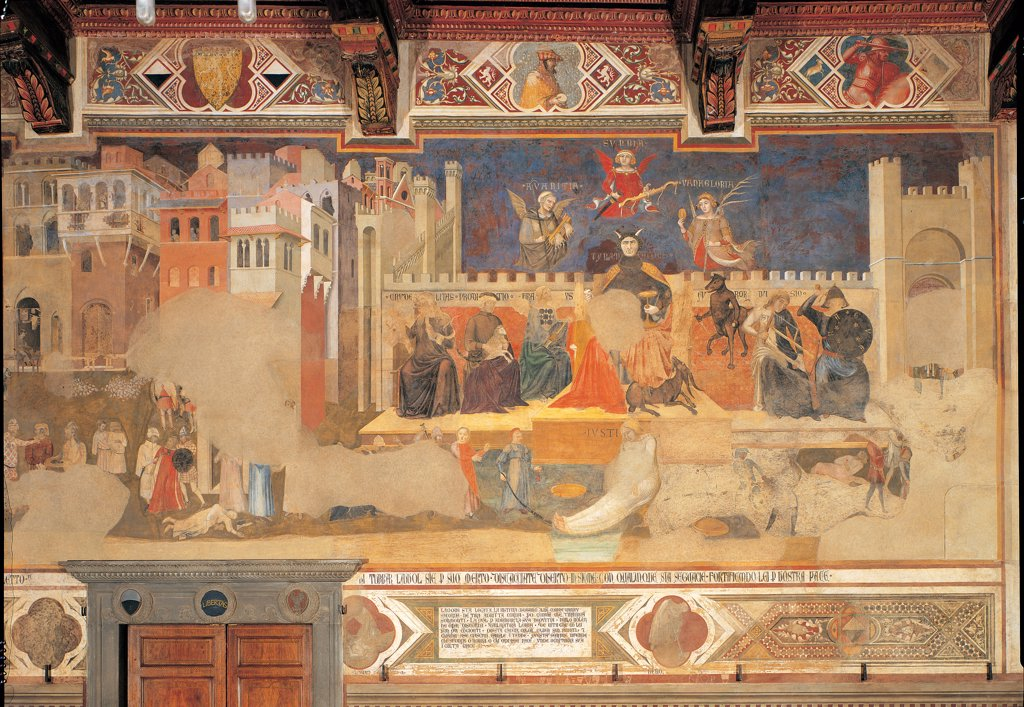Allegory of Bad Government, by Lorenzetti Ambrogio, 1338 - 1339, 14th Century, fresco. Italy: Tuscany: Siena: Palazzo Pubblico: Sala della Pace. Whole artwork. Houses building tower throne : Stock Photo