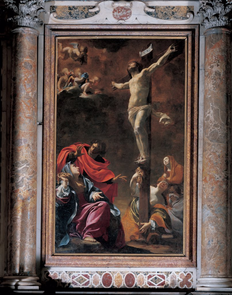 Stock Photo: 1899-33821 The Crucifixion, by Vouet Simon, 1622, 17th Century, oil on canvas. Italy: Liguria: Genoa: Chiesa dei Santi Ambrogio e Andrea. Whole artwork. The Crucifixion Jesus Christ crucified Cross Madonna St John St Mary Magdalene angels