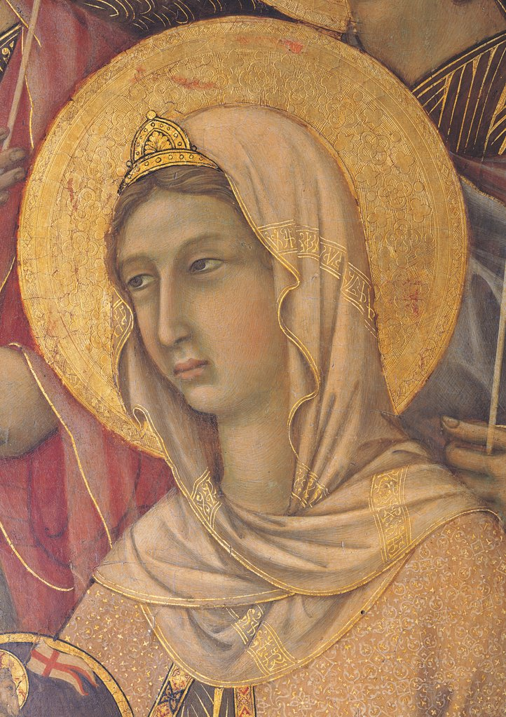 Military Parade at Campo di Marte, by Duccio di Buoninsegna, 1308 - 1311, 14th Century, tempera on panel, with gold ground. Italy. Tuscany. Siena. Cathedral. Front, main register. Detail of face of St Agnes with veil and crown : Stock Photo