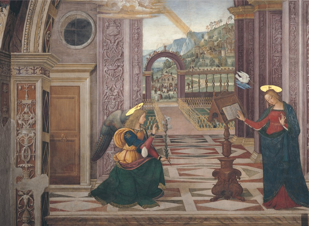 Stock Photo: 1899-33844 Annunciation, by Bernardino di Betto knows as Pinturicchio, 1501, 16th Century, fresco. Italy: Umbria: Perugia: Spello: Santa Maria Maggiore church: Baglioni Chapel. Detail. Angel Gabriel Virgin Mary book-rest/lectern book Holy Ghost/Holy Spirit ray angelic hosts room building arched columns friezes garden floor geometric designs/drawings