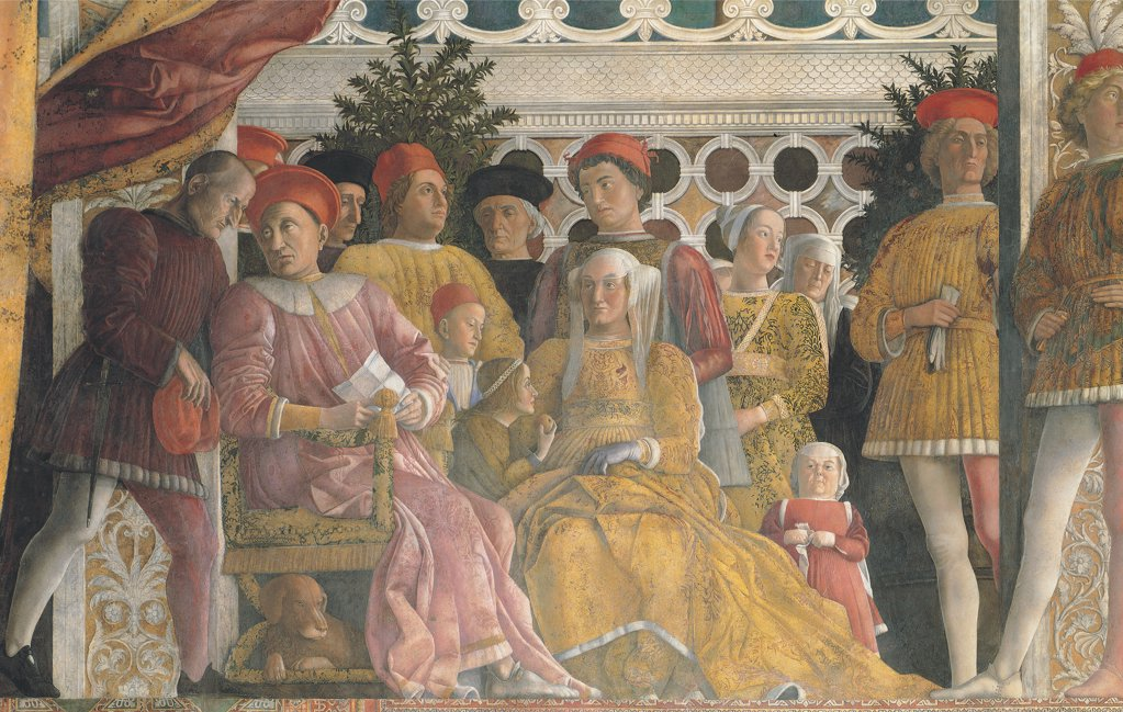 Stock Photo: 1899-33847 Decoration of the Camera degli Sposi (Camera Picta), by Mantegna Andrea, 1465 - 1474, 15th Century, fresco and dry tempera. Italy. Lombardy. Mantua. Ducal Palace. Northern wall also known as the fireplace wall. The Court. Detail of the Gonzaga family, including the marquis/marchese Ludovico, the sons Gianfrancesco, Ludovico and Rodolfo, the daughters Paola and Barbara, the wife Barbara Von Brandenburg, a little dog, the dwarf woman and the wet nurse