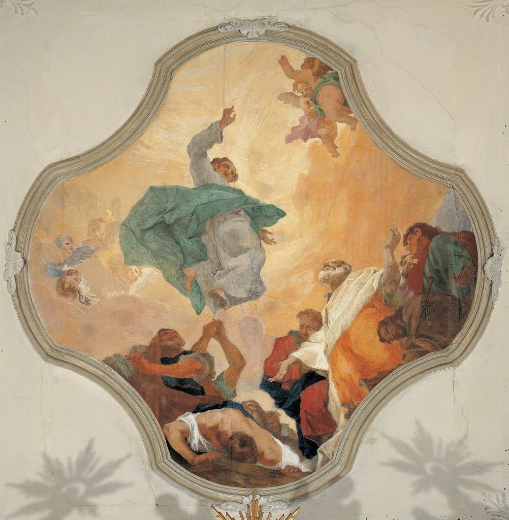 The Ascension of Christ, by Canal Giovan Battista, 19th Century, fresco. Italy: Veneto: Treviso: Fonte: One Parish Church: volta. Whole artwork. Ascension Jesus Christ clouds sky yellow orange : Stock Photo