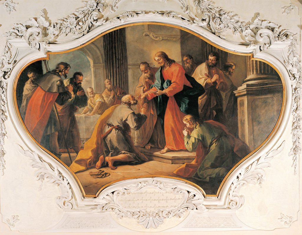 The Communion of the Apostles, Disciples, by Diziani Gaspare, 18th Century, canvas (shaped section). Italy: Veneto: Treviso: Roncade: Parish church. All Communion/Holy Communion Apostles/Disciples column Jesus Christ garment red mantle/cloak blue : Stock Photo