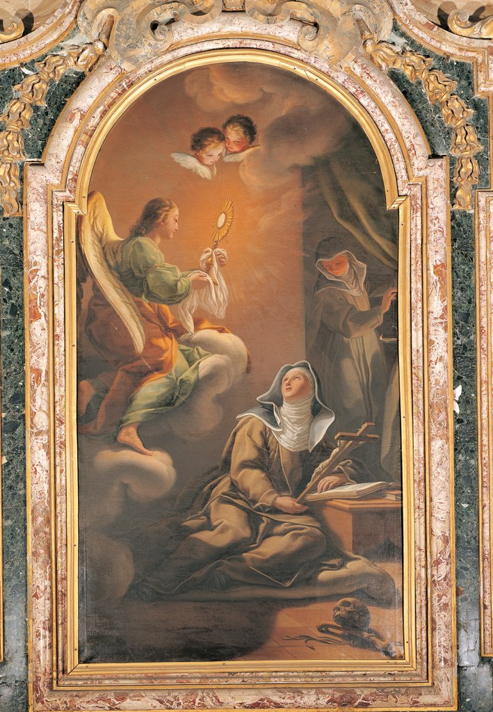 Stock Photo: 1899-33870 Vision of St Clare, by Bianchi Pietro known as Creatura, 1694 - 1740, 18th Century, canvas. Italy: Umbria: Perugia: Gubbio: San Benedetto church. Whole artwork. Vision of St Clare angel monstrance host/wafer particle nuns crucifix crucified cloud apparition skull cherubs curtain dark/brown shades brown white black green orange yellow light shade memento mori