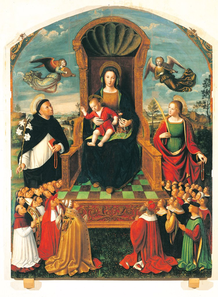 Stock Photo: 1899-33872 The Madonna of the Rosary altarpiece, by Brea Ludovico, 16th Century, oil on panel. Italy: Liguria: Imperia: Taggia: San Domenico church. All Altarpiece Madonna Rosary throne Mary the Infant Jesus/the Christ Child Saints lily red green palm book