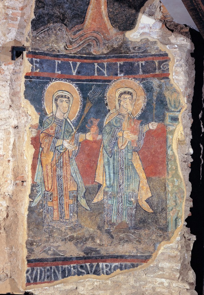 The Wise Virgins, by Unknown artist, 11th Century, fresco. Italy: Marche: Macerata: Tolentino: Cathedra: ex mausoleo di San Catervo. Fragment wise virgins pitcher/jug red blue lamp lantern torch small oil lamp halo/aureole : Stock Photo