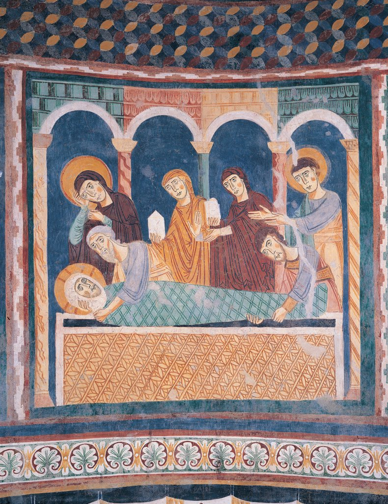 Stock Photo: 1899-33879 Deposition in the Sepulcher, by Unknown artist, 12th Century, fresco. Italy: Sardegna: Sassari: Codrongianus: Santissima Trinita di Saccargia church. Detail of the apsidal decoration Deposition in the sepulcher