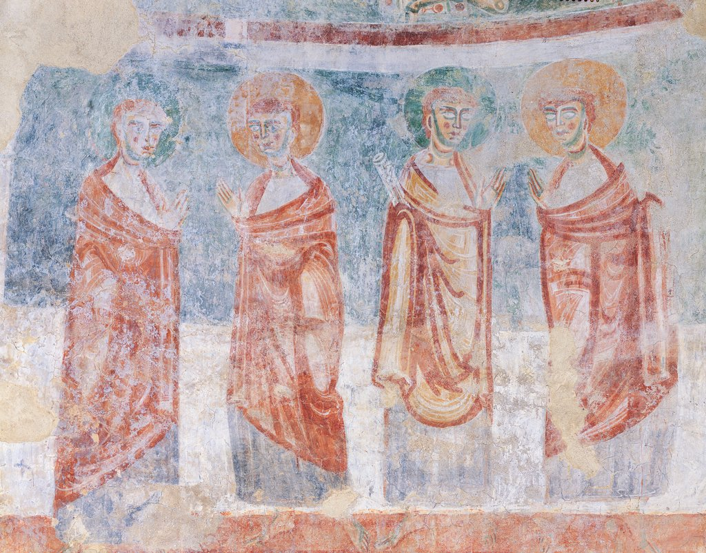 Stock Photo: 1899-33880 Decoration of the apse at the Church of San Tommaso, Briga Novarese, by Unknown artist, 12th Century, fresco. Italy: Piemonte: Novara: Briga Novarese: San Tommaso Church. Detail. Four apostles apsidal decoration of St Thomas in Briga Novarese light blue/azure red mantle/cloak