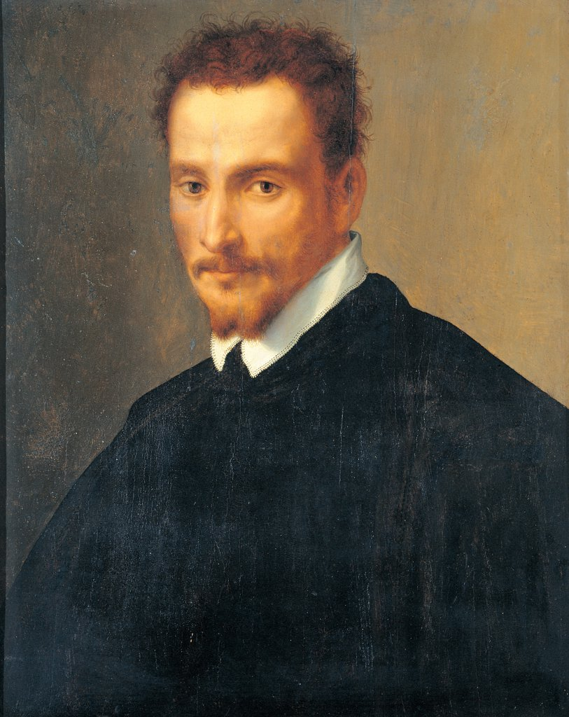 Stock Photo: 1899-33885 Portrait of a Gentleman, by De' Rossi Francesco know as Cecchino Salviati, 16th Century, oil on panel. Private collection. Whole artwork. Collar white suit black beard moustache goatee beard gentleman