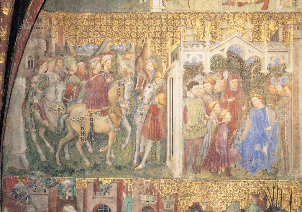 The Legend of Theodelinda, by Zavattari (brothers), 1430 - 1448, 15th Century, fresco. Italy. Lombardy. Monza Brianza. Monza. Cathedral. Detail. The Legend of Theodelinda of The Longobard Ambassadors/Spokesmen Return to Italy and Are Received by Autari. Scenes 3 and 4 : Stock Photo