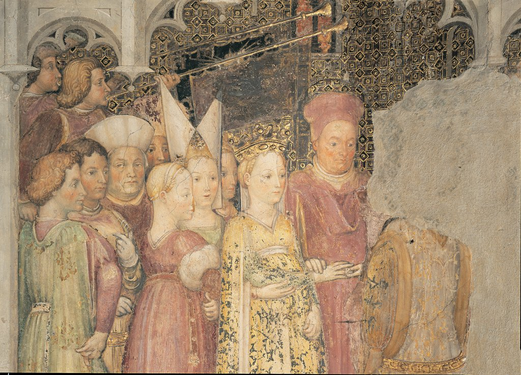 The Legend of Theodelinda, by Zavattari (brothers), 1430 - 1448, 15th Century, fresco. Italy. Lombardy. Monza Brianza. Monza. Cathedral. Detail. The Legend of Theodelinda of The Wedding of Theodelinda and Agilulf. Scene 29. Marriage/wedding headdress/headgear garment/dress yellow witnesses church : Stock Photo