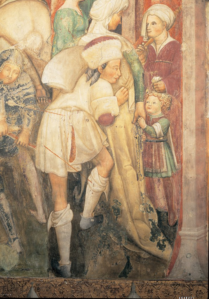 The Legend of Theodelinda, by Zavattari (brothers), 1430 - 1448, 15th Century, fresco. Italy. Lombardy. Monza Brianza. Monza. Cathedral. Detail on the right with male figure. The Legend of Theodelinda of The Franks Wage War Against the Bavarians and Defeat Them. Scene 13. Arrow red : Stock Photo