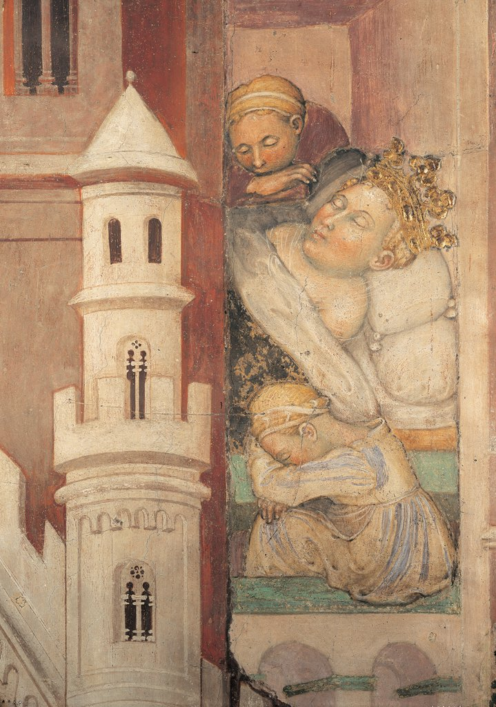 The Legend of Theodelinda, by Zavattari (brothers), 1430 - 1448, 15th Century, fresco. Italy. Lombardy. Monza Brianza. Monza. Cathedral. Legend of Theodelinda of Dream of Theodelinda. Scene 32. Detail on the left crown gold tower bed pillow linen sleeping : Stock Photo