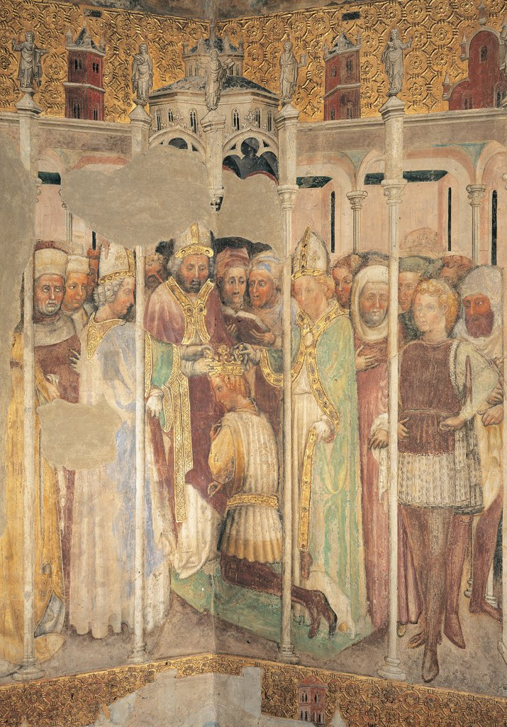 The Legend of Theodelinda, by Zavattari (brothers), 1430 - 1448, 15th Century, fresco. Italy. Lombardy. Monza Brianza. Monza. Cathedral. The Legend of Theodelinda of The Crowning of Agilulf. Scene 28. Gold crown crowning/coronation green : Stock Photo