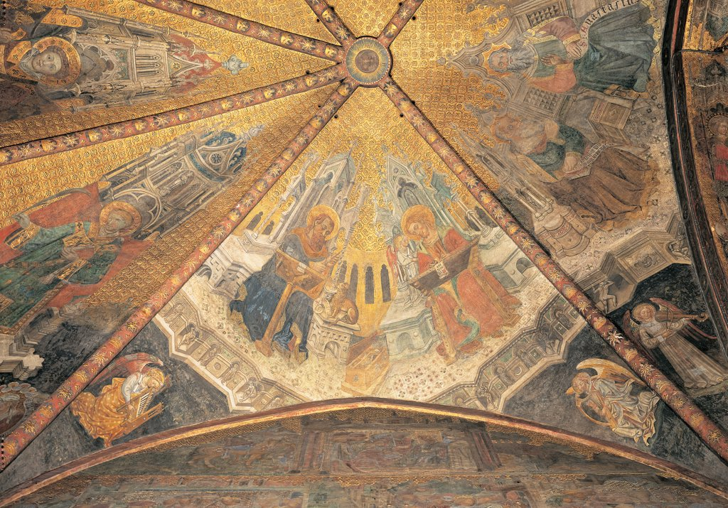 Stock Photo: 1899-33912 The Legend of Theodelinda - The Evangelists Mark and Matthew, detail of the Vault of Theodelinda Chapel, by Unknown artist, 1430 - 1448, 15th Century, fresco. Italy: Lombardy: Monza Brianza: Monza: Cathedral. Theodelinda Legend - The evangelists Mark and Matthew, detail of the vault of the Theodelinda chapel throne gold