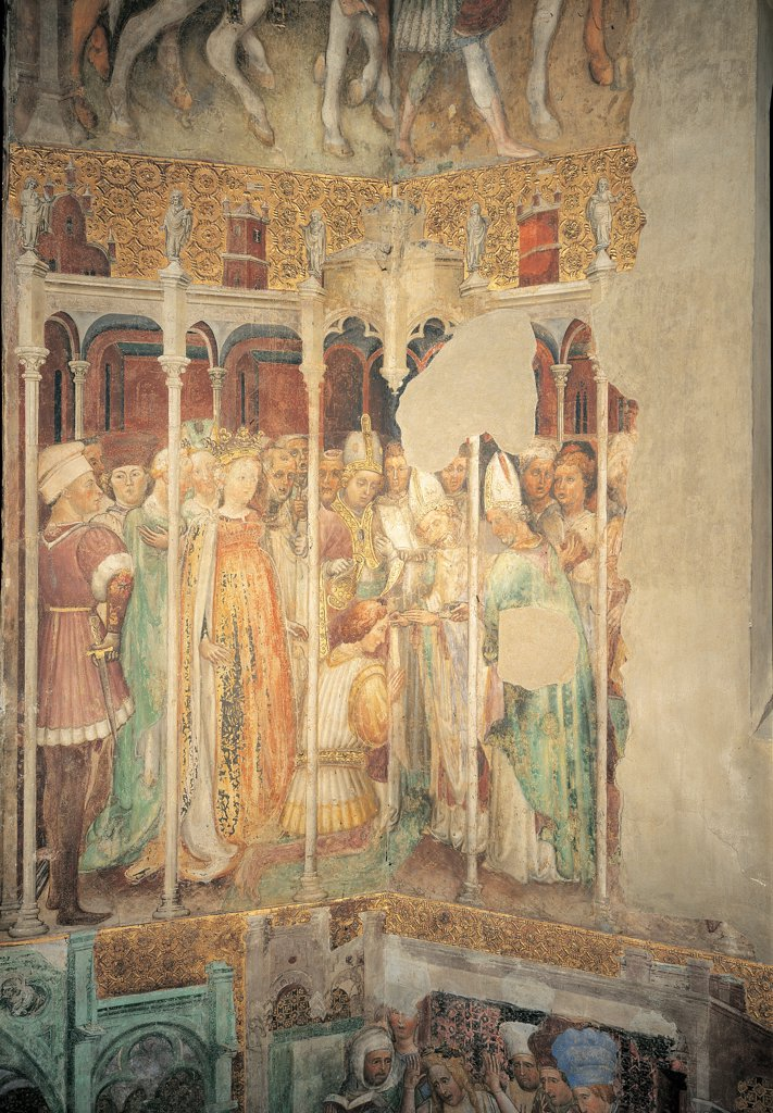 Stock Photo: 1899-33921 The Legend of Theodelinda, by Zavattari (brothers), 1430 - 1448, 15th Century, fresco. Italy. Lombardy. Monza Brianza. Monza. Cathedral. Theodelinda Legend of Agilulf already a follower of the Arian heresy, is baptized. Scene 27 gold yellow