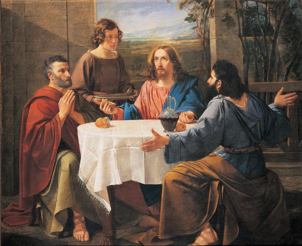 Stock Photo: 1899-33925 Supper at Emmaus, by Bandini Enrico, 1837, 19th Century, canvas. Italy: Emilia Romagna: Parma: Sala Baganza: Parish church. Whole artwork. Last Supper Jesus Christ tablecloth bread wine red white blue