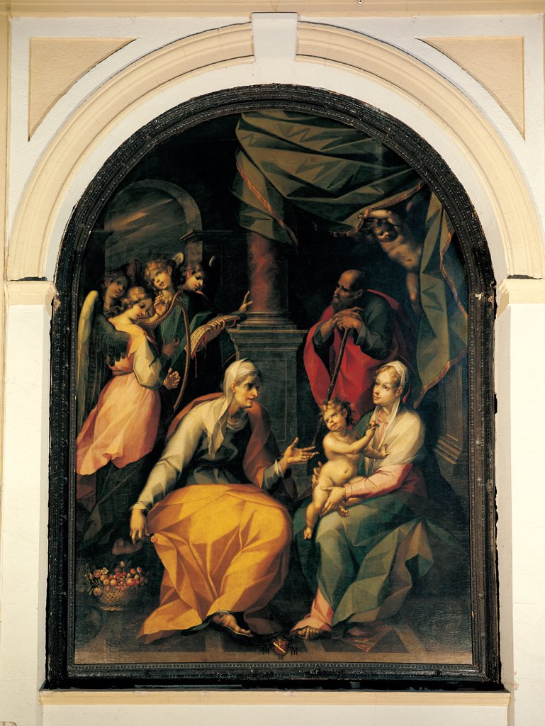 Holy Family with St Anne, by Catalano Antonio il Vecchio o l'Antico, 1598, 16th Century, oil on canvas. Italy: Sicily: Palermo: Cefalu: Cappuccini church. Whole artwork. Holy Family St Anne Madonna Baby/Child Jesus Joseph : Stock Photo