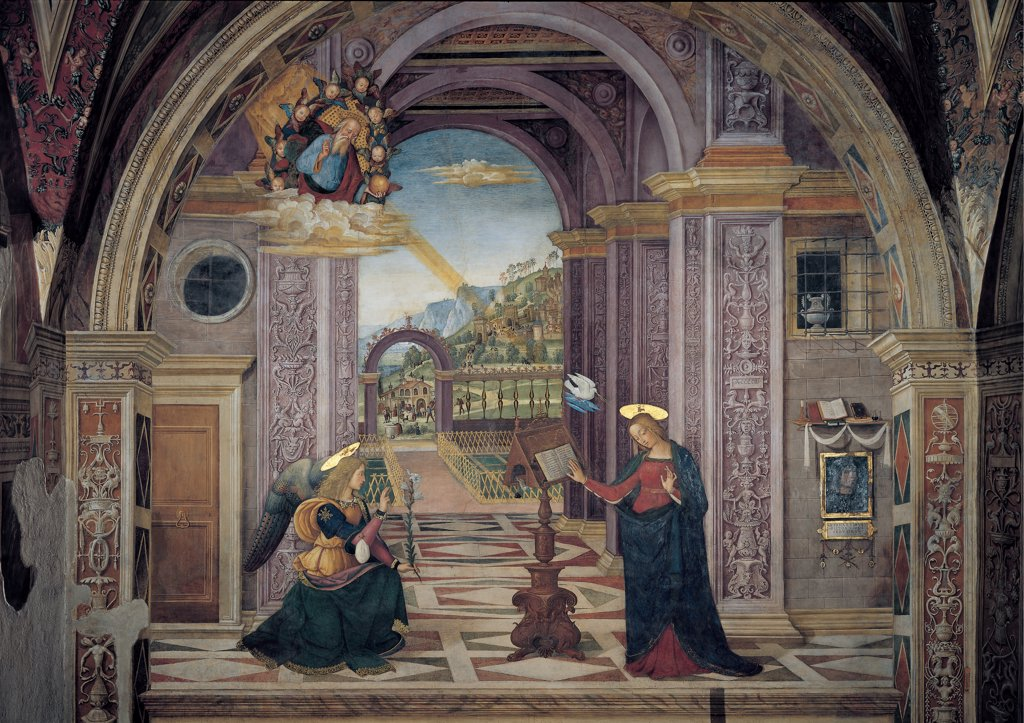 Stock Photo: 1899-33958 Annunciation, by Bernardino di Betto knows as Pinturicchio, 1501, 16th Century, fresco. Italy: Umbria: Perugia: Spello: Santa Maria Maggiore church: Baglioni Chapel. Whole artwork. Angel Gabriel Virgin Mary book-rest/lectern book Holy Ghost/Holy Spirit ray light angelic hosts room building arched columns friezes garden floor geometric designs/drawings