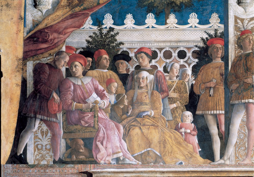 Stock Photo: 1899-33965 Decoration of the Camera degli Sposi (Camera Picta), by Mantegna Andrea, 1465 - 1474, 15th Century, fresco and dry tempera. Italy. Lombardy. Mantua. Ducal Palace. Detail. Northern wall also known as the fireplace wall. The Court of the marquise Barbara Von Brandenburg with her sons and daughters, Gianfrancesco, Ludovico, Rodolfo, Paola, Barbara, the dwarf woman and the wet nurse