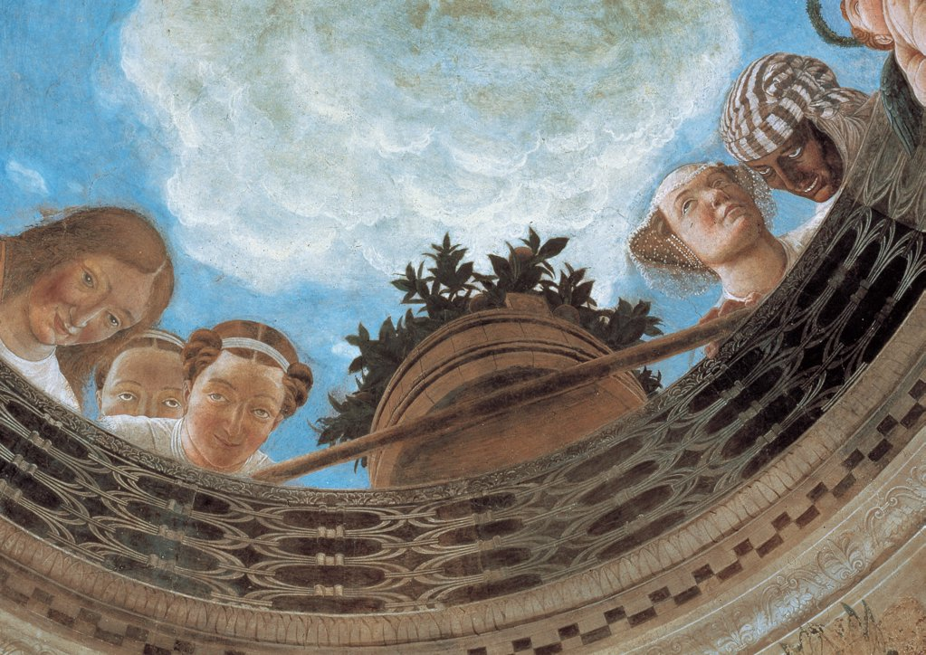Decoration of the Camera degli Sposi (Camera Picta), by Mantegna Andrea, 1465 - 1474, 15th Century, fresco and dry tempera. Italy: Lombardy: Mantua: Ducal Palace. Detail of the vault. Oculus two women veil vase flowers balcony balustrade/banister sky : Stock Photo