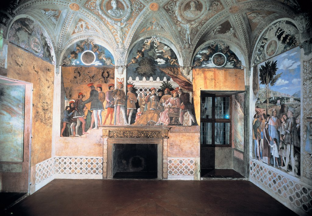Decoration of the Camera degli Sposi (Camera Picta), by Mantegna Andrea, 1465 - 1474, 15th Century, fresco and dry tempera. Italy: Lombardy: Mantua: Ducal Palace. Front view of the north wall with the Gonzaga family and courtiers : Stock Photo