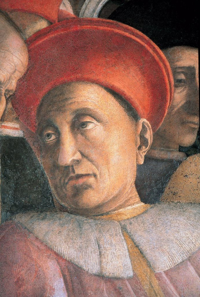 Decoration of the Camera degli Sposi (Camera Picta), by Mantegna Andrea, 1465 - 1474, 15th Century, fresco and dry tempera. Italy. Lombardy. Mantua. Ducal Palace. North wall or the chimney wall. The Court. Detail of face of the Marquis Ludovico III Gonzaga red pink yellow gold hat head gear/headdress face : Stock Photo