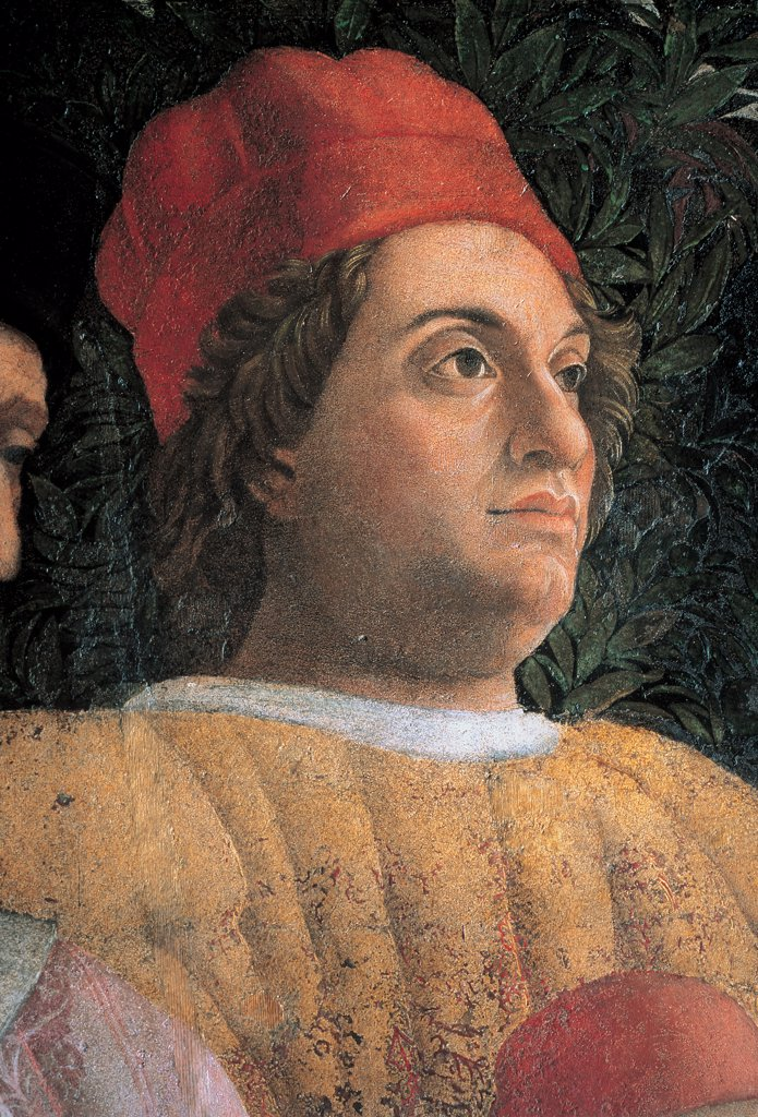 Decoration of the Camera degli Sposi (Camera Picta), by Mantegna Andrea, 1465 - 1474, 15th Century, fresco and dry tempera. Italy. Lombardy. Mantua. Ducal Palace. North wall or the chimney wall. The Court. Detail of Gianfrancesco Gonzaga gold red hat head gear/headdress : Stock Photo