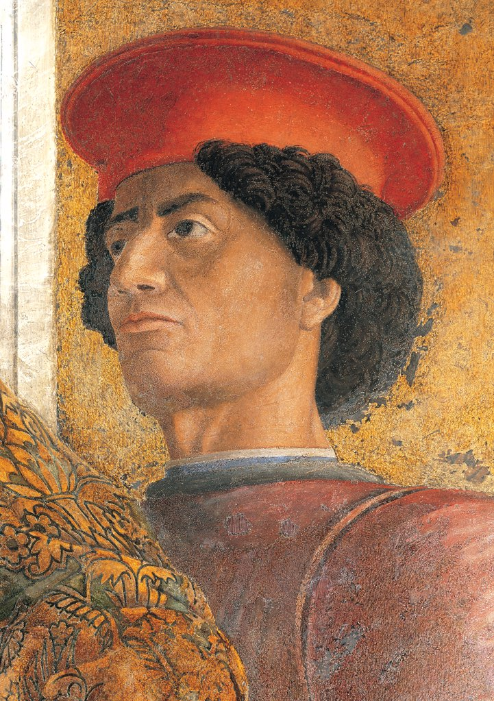 Decoration of the Camera degli Sposi (Camera Picta), by Mantegna Andrea, 1465 - 1474, 15th Century, fresco and dry tempera. Italy. Lombardy. Mantua. Ducal Palace. North wall or the chimney wall. The Court. Detail of face of the Ferrara ambassador red hat head gear/headdress gold face : Stock Photo