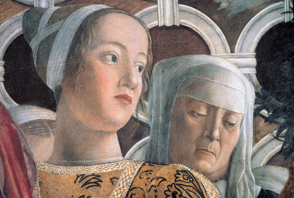 Decoration of the Camera degli Sposi (Camera Picta), by Mantegna Andrea, 1465 - 1474, 15th Century, fresco and dry tempera. Italy. Lombardy. Mantua. Ducal Palace. North wall or the chimney wall. The Court. Detail of the Marquis daughter, Barbara, and the wet-nurse gold veil face : Stock Photo