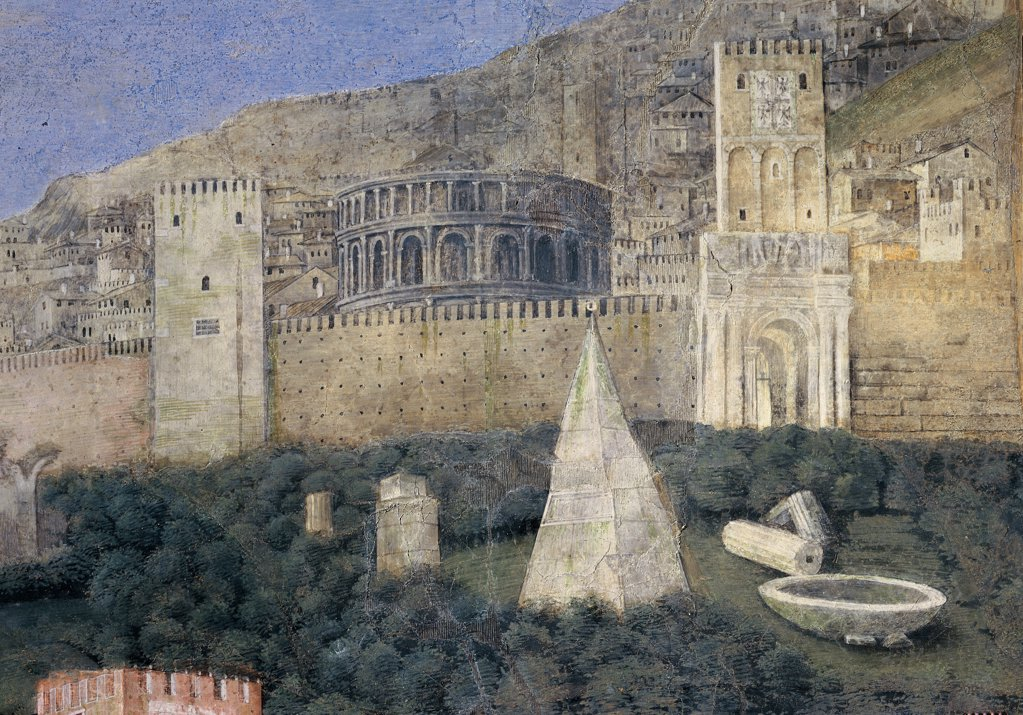 Stock Photo: 1899-33995 Decoration of the Camera degli Sposi (Camera Picta), by Mantegna Andrea, 1465 - 1474, 15th Century, fresco and dry tempera. Italy. Lombardy. Mantua. Ducal Palace. West wall. The meeting between Ludovico Gonzaga and his sons Francesco and Federico. Right episode. Detail of landscape with a pyramid, archeological ruins, the walls of the city and a classical-style building similar to an amphitheater
